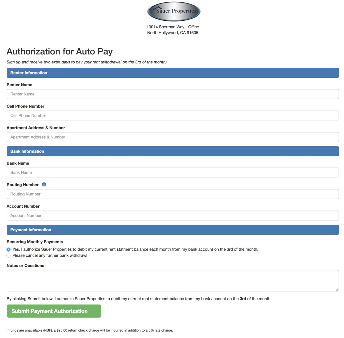 Sauer Properties FileMaker Residential Rental Property Mangement -- Authorization Page